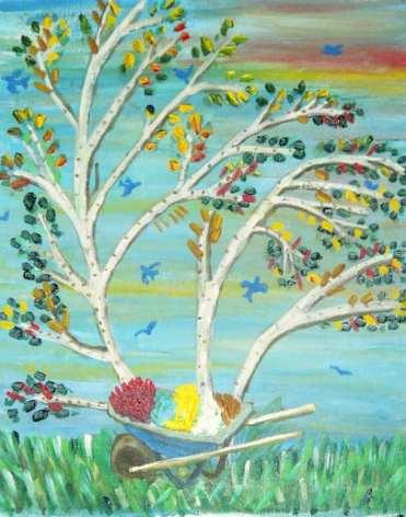 Trees wheelbarrows and birds