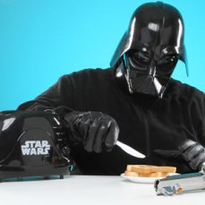 Darth vader toaster eating