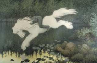 Gutt på hvit hest