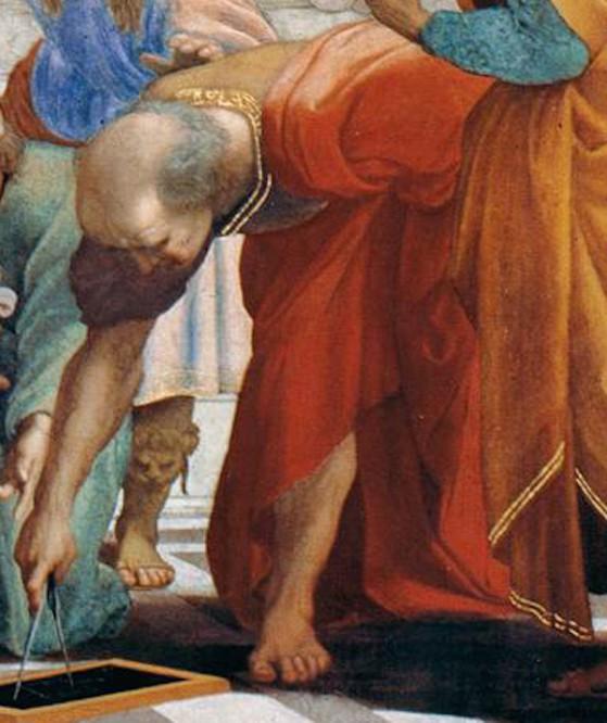 Archimede con l'aspetto di Bramante, Raffaello, Stanze Vaticane Scuola di Atene