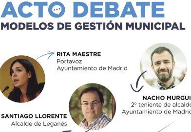 Rita Maestre, Santiago Llorente y Nacho Murguí debatirán sobre los modelos de gestión municipal
