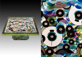 Ampex is a Cybertrash table made of CDs, LPs, harddrives and magnetic tape reels (88x88x37cm, 37kg)