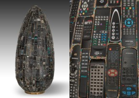 Rémy Tassou / Panasonix is a Cybertrash totem made of remote controls and resistors. 172x73 cm. 50 kg.