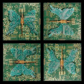 Rémy Tassou / Papillons are a set of 4 Cybertrash wall sculptures made of PCB and resistors. 15cm X 14cm each