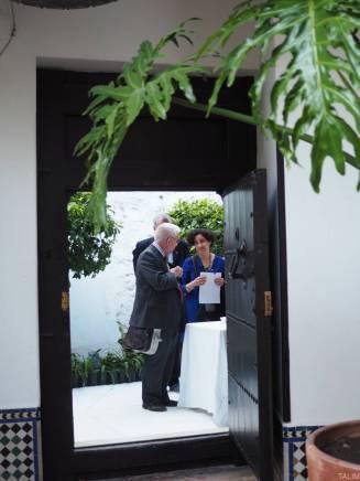 Dale Eickelman and Grecia Alvarez at the door
