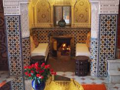 Fireplace and seating area, Villa Hosni