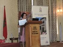 Camila Pastor de María Campos presenting