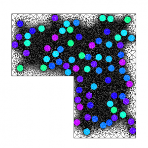 Mesh of the heterogeneous model (~60 000 elements).