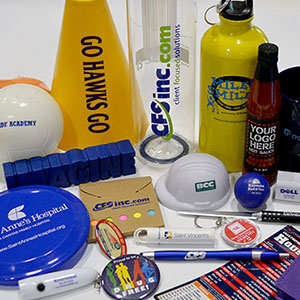 Custom merchandise and printed promotional products: pens, water bottles, keychains, stress balls, and more