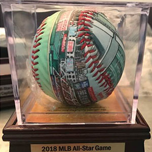 Baseball with plaque