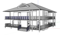 Image of a black and white, two story house model in a computer program