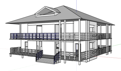 Design of a black and white, two story house model in a computer program