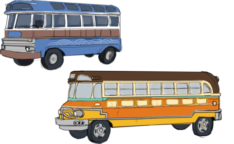 Design of two cars, one above the other, in blue and yellow.
