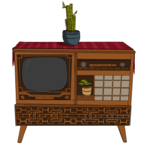 A 1960's style TV set in a cabinet made of wood with plants on it.
