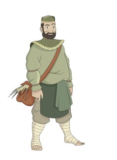 Design of a older, heavier-set man wearing dull green and light brown clothing.