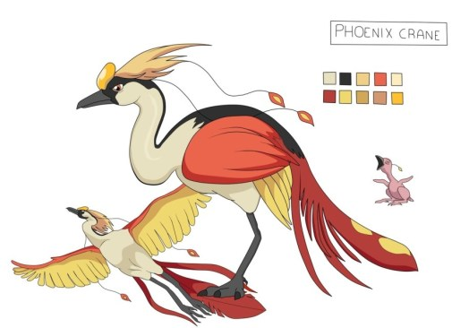 Design of a large bird with red, white yellow and black feathers