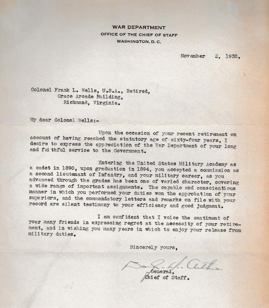 Presidential Retirement Letter