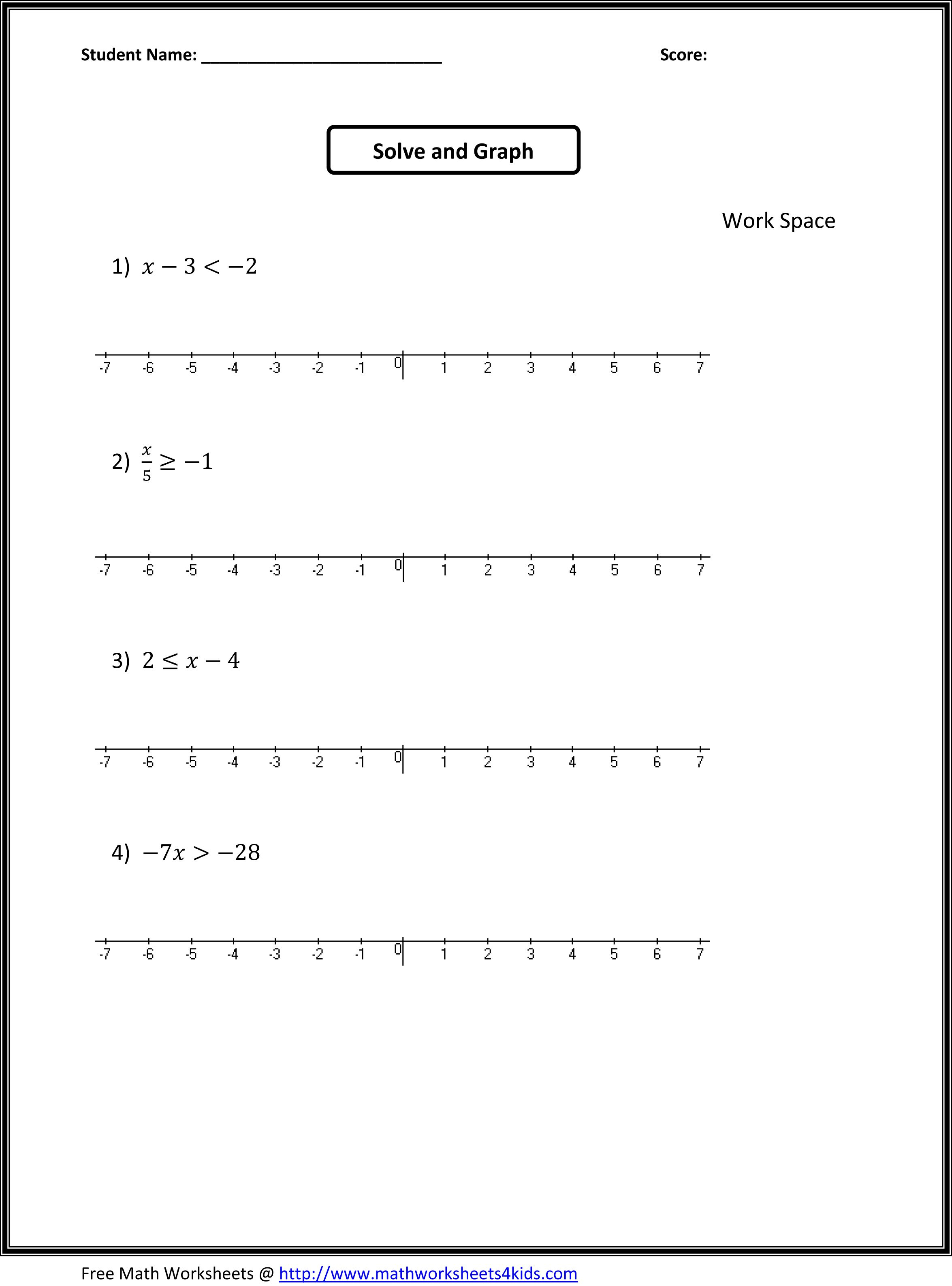Algebra 6th Grade Worksheets Free Printables Worksheet