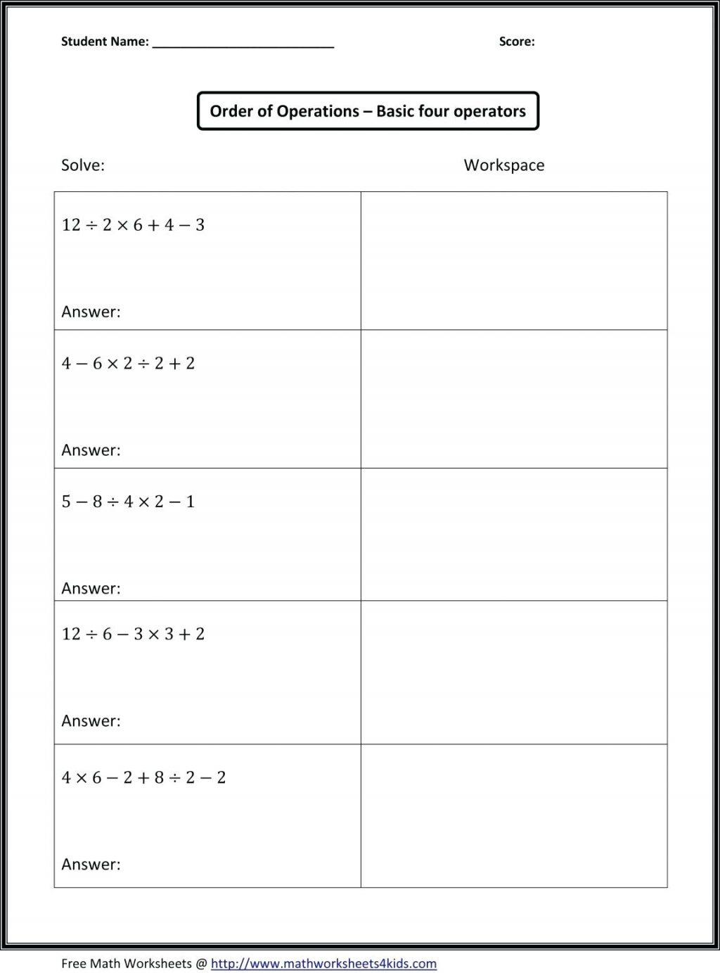 Pemdas Worksheets Order Of Operations 3