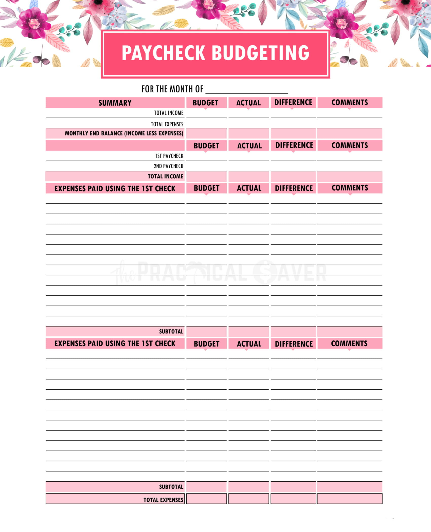 Printable Budget Binder Worksheets