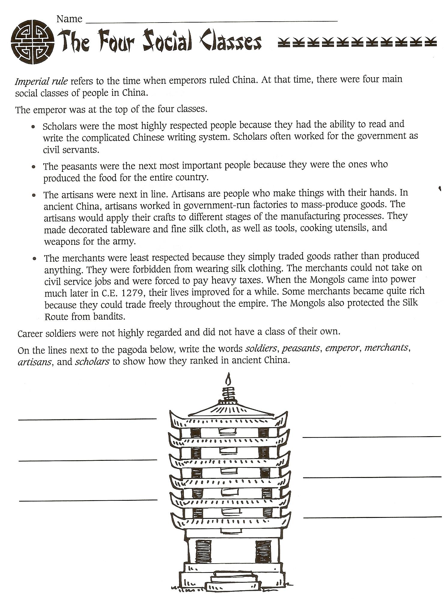 Ancient China Printable Worksheets