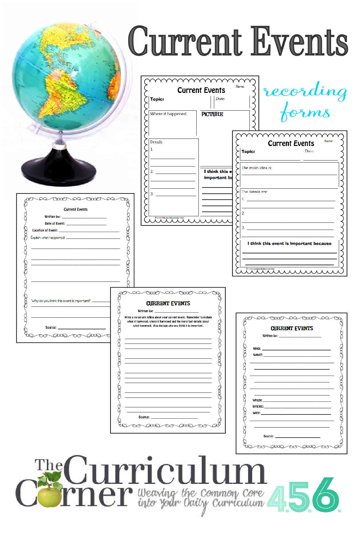 Current Events Template Worksheet