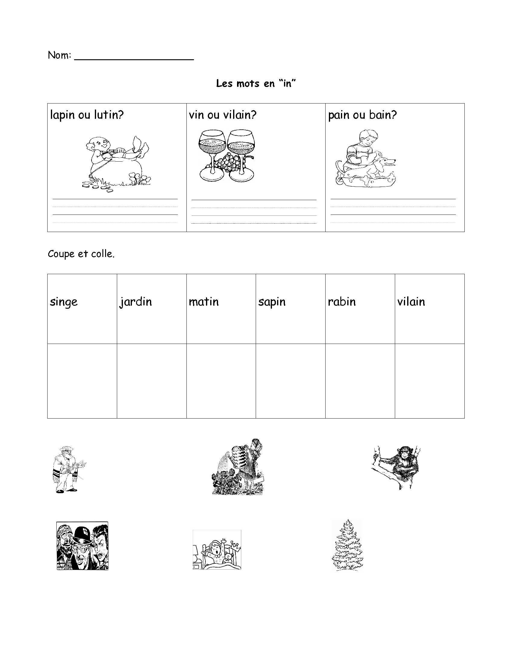 Free Printable French Worksheets For Grade 1