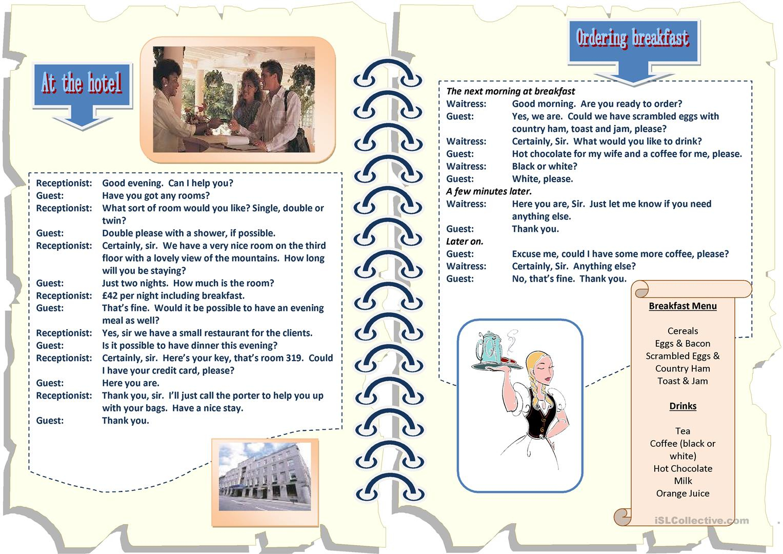 Hospitality Worksheets Printable