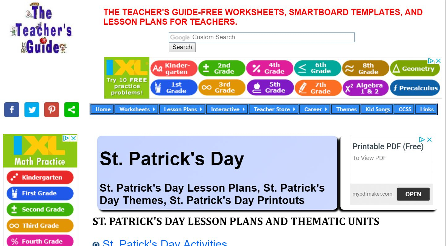 Teacher Websites Free Printable Worksheets