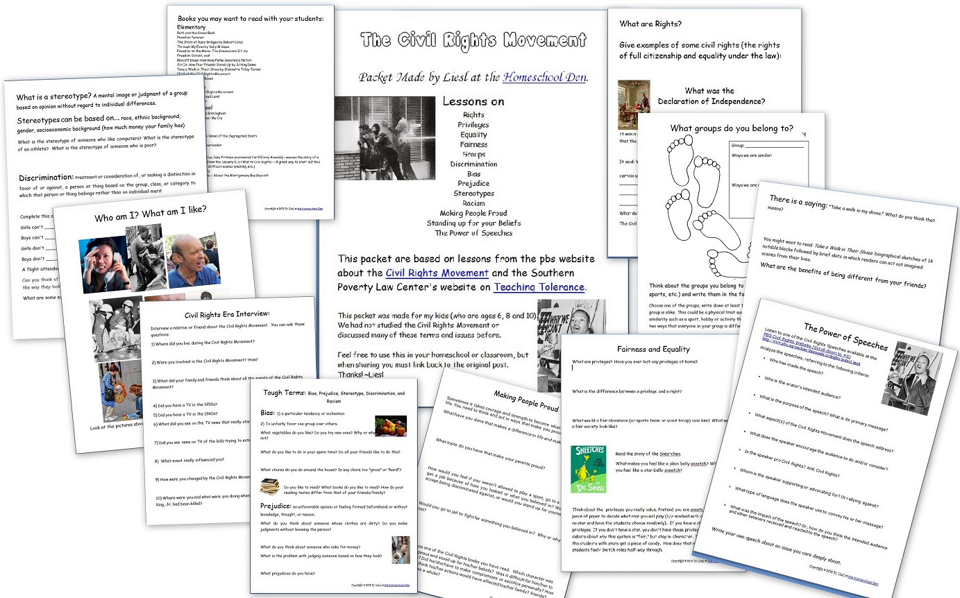 Civil Rights Movement Worksheets Printable
