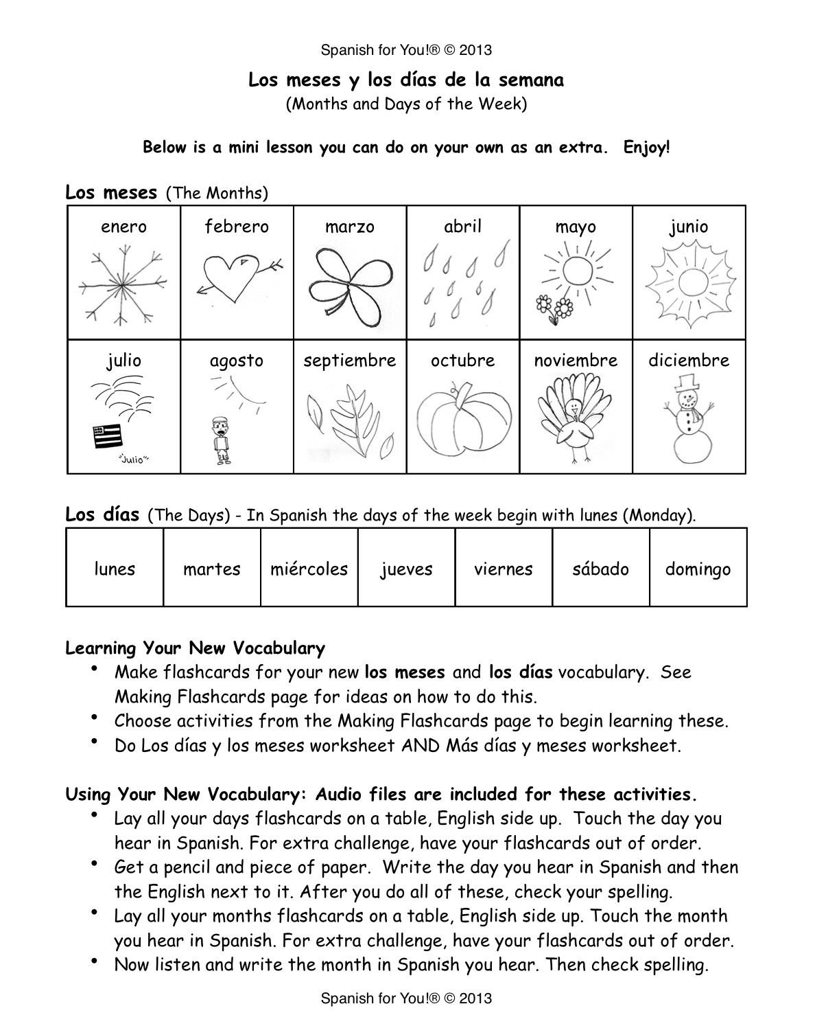 Free Printable Spanish Worksheets Days Of The Week