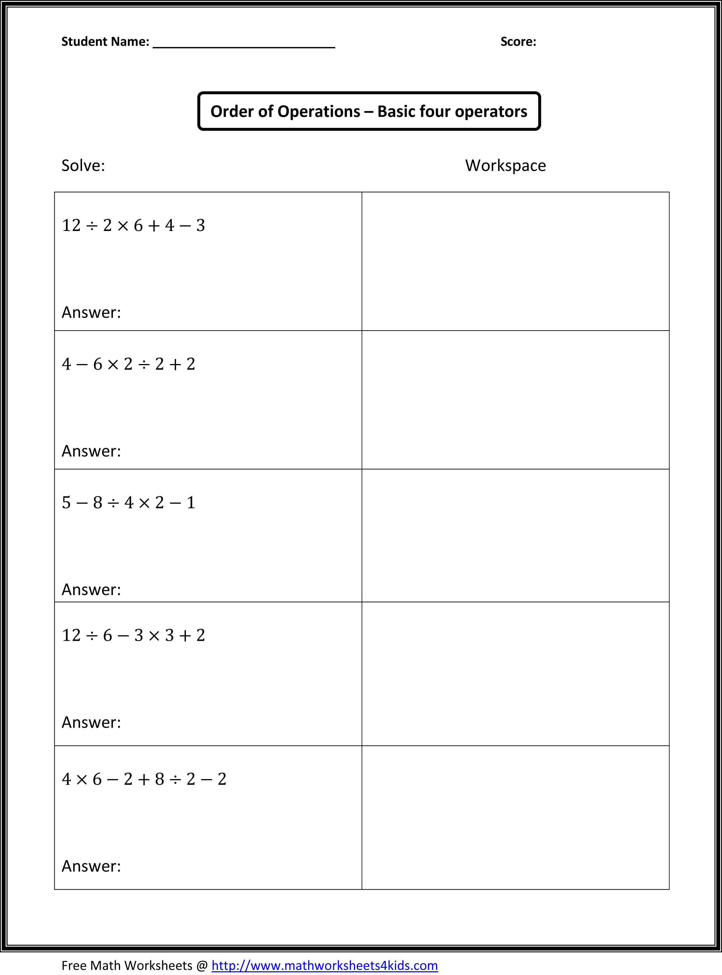 Algebra Worksheets For 4th Grade Printable