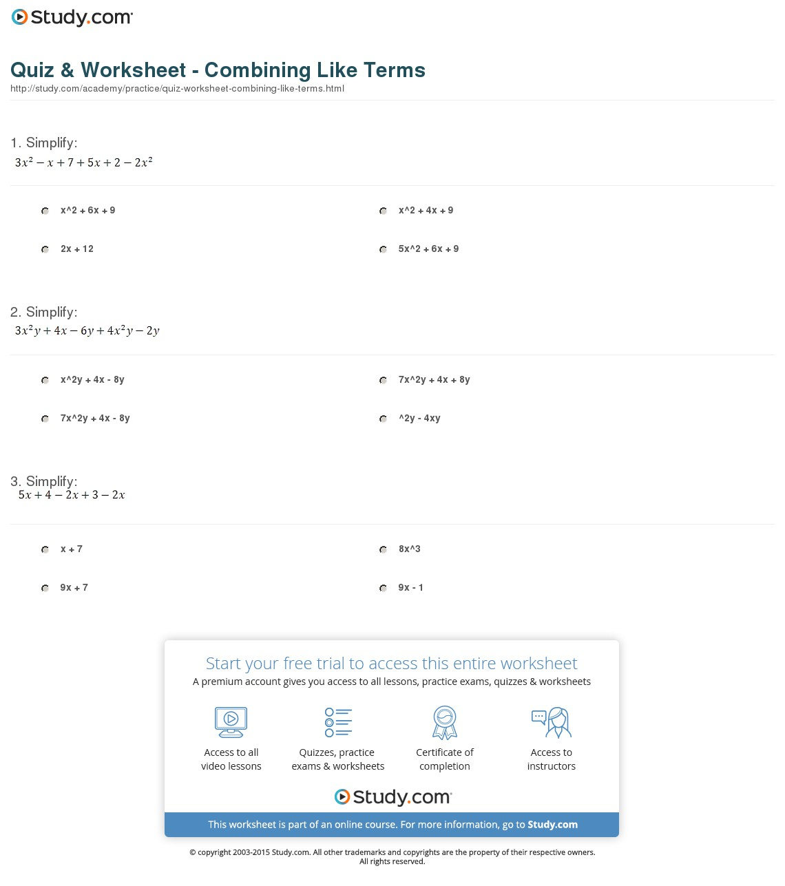 Worksheets Combining Like Terms Worksheets Cheatslist