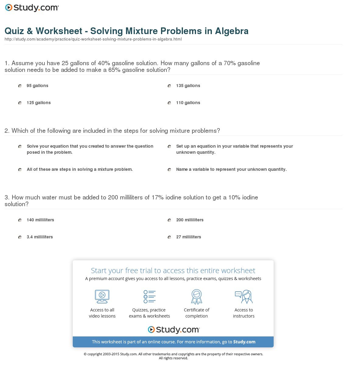 Wizer Blended Worksheet Solutions And Suspensions