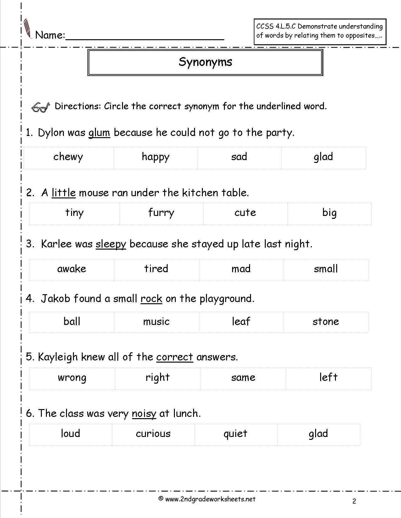 Printable Homophones Worksheet