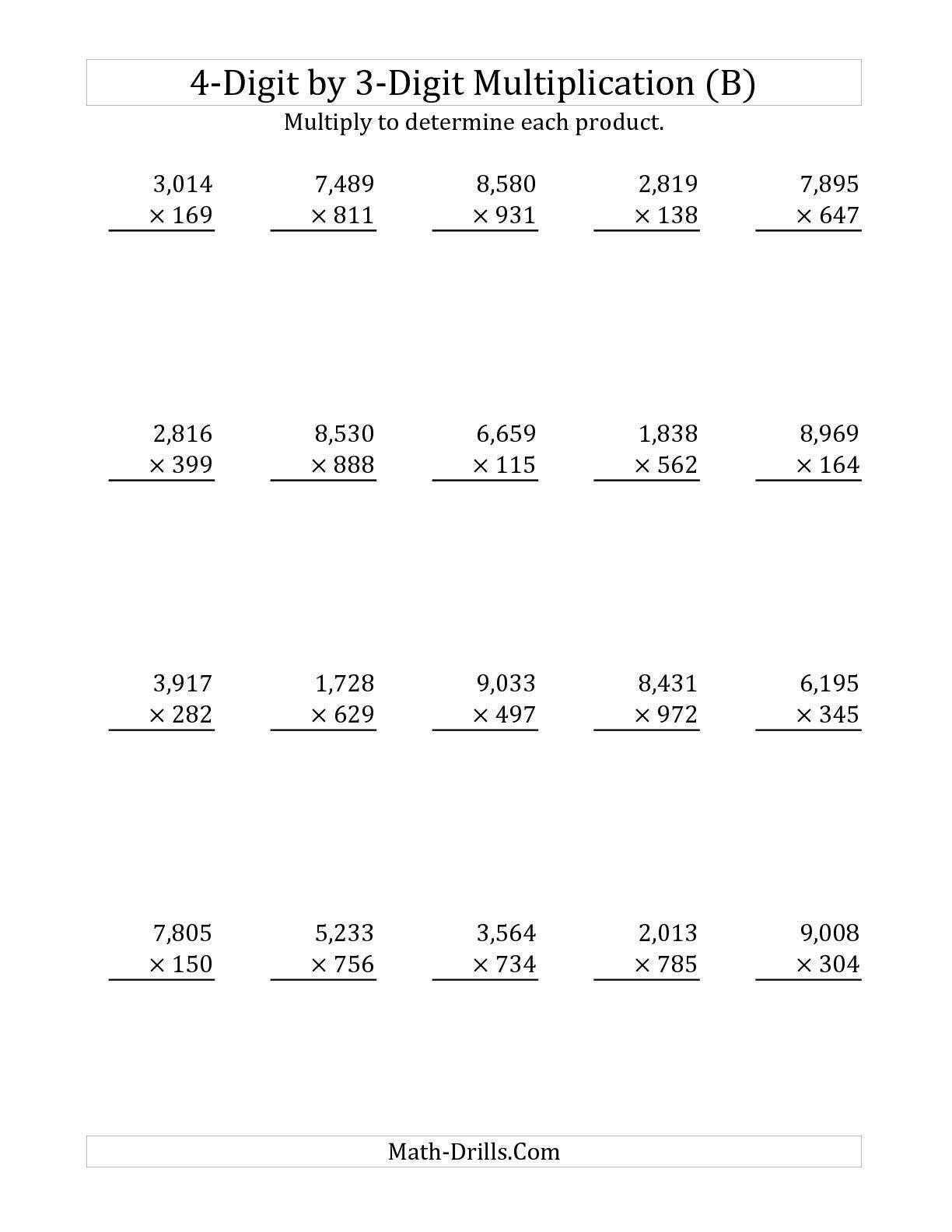 3 Digit By 1 Digit Multiplication Worksheets Printable