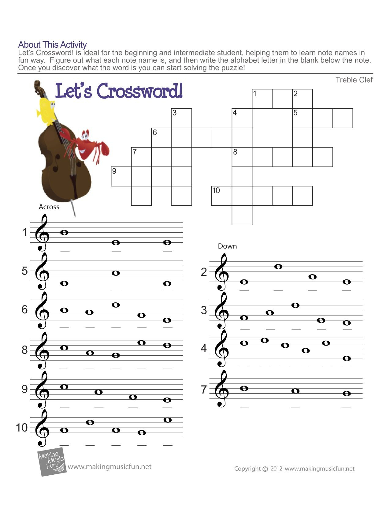 Bass Clef Ledger Lines Only Note Recognition Worksheet