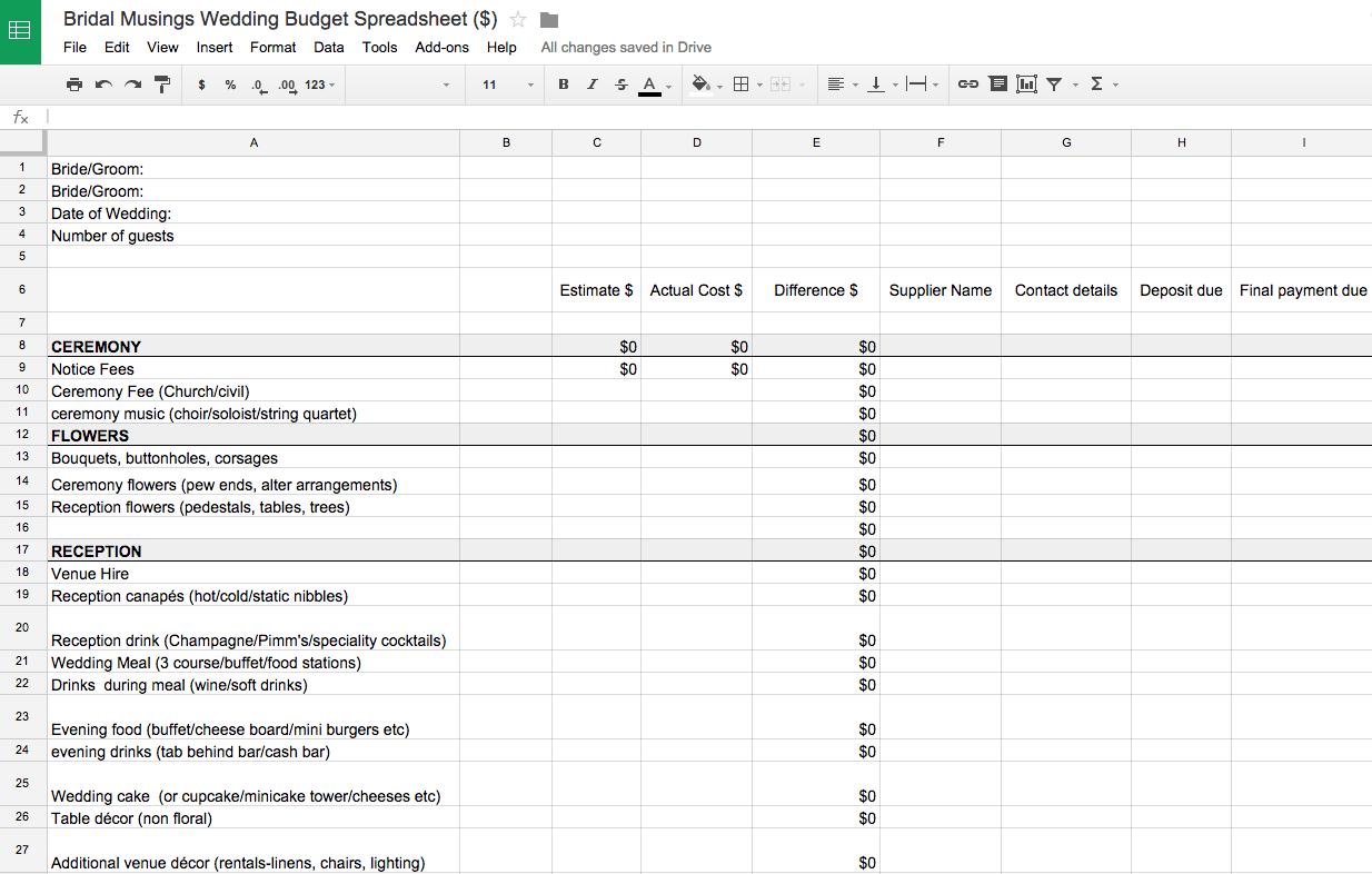 Wedding Budget Spreadsheet Uk Excel Australia Reddit