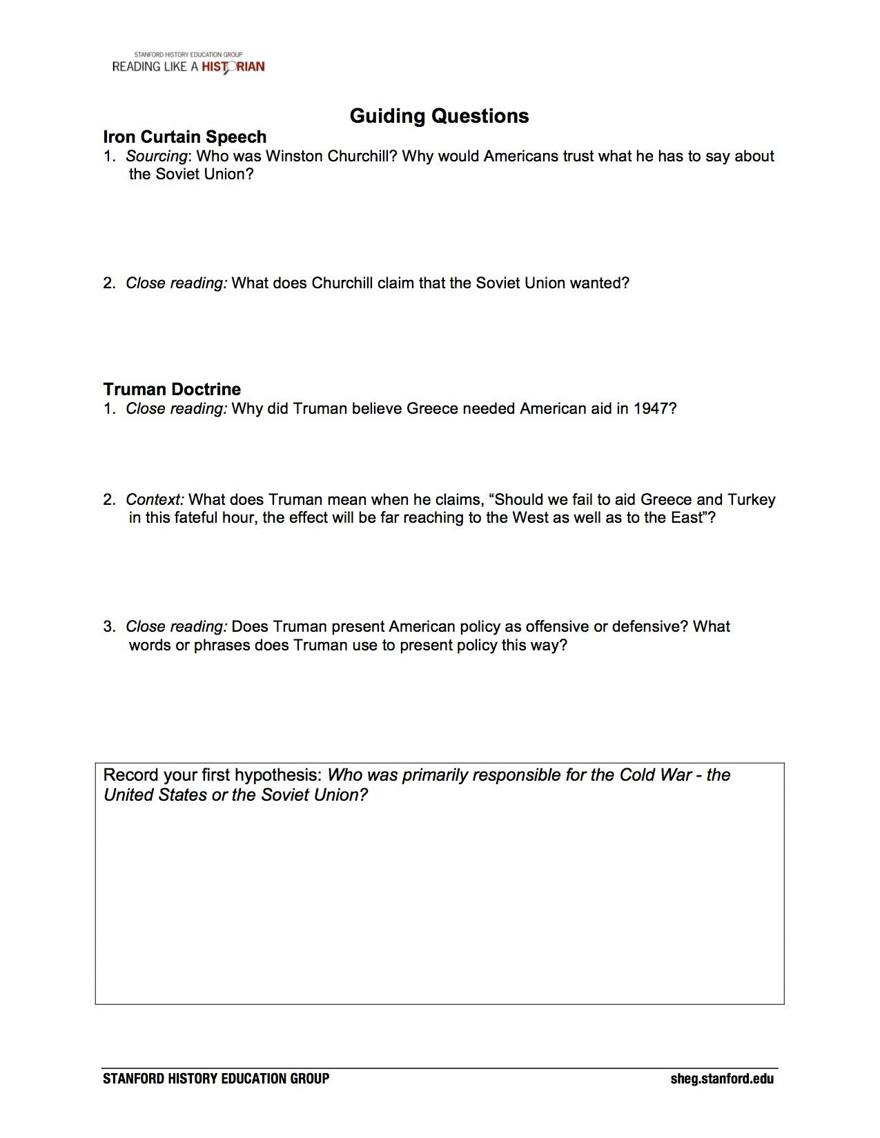 Cold War Printable Worksheets