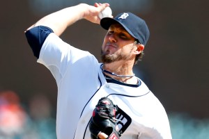 Detroit Tigers relief pitcher Joe Nathan throws against the Kansas City Royals in the ninth inning of an MLB American League baseball game in Detroit Wednesday, April 2, 2014. (AP Photo/Paul Sancya)