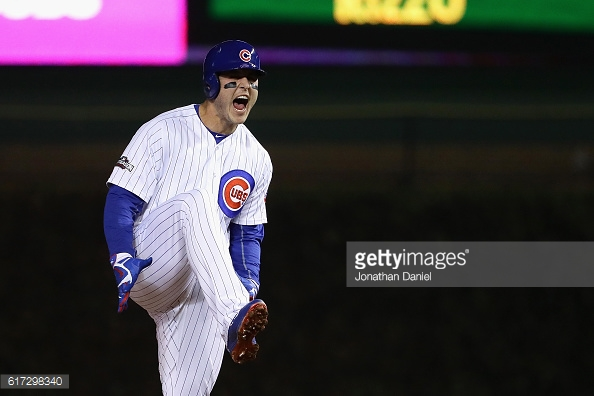 CHICAGO, IL - OCTOBER 22: Anthony Rizzo #44 of the Chicago Cubs celebrates after hitting a double in the first inning against the Los Angeles Dodgers during game six of the National League Championship Series at Wrigley Field on October 22, 2016 in Chicago, Illinois. (Photo by Jonathan Daniel/Getty Images)