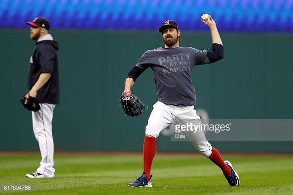 CLEVELAND, OH - OCTOBER 24: Andrew Miller #24 of the Cleveland Indians throws during Media Day workouts for the 2016 World Series at Progressive Field on October 24, 2016 in Cleveland, Ohio. (Photo by Elsa/Getty Images)