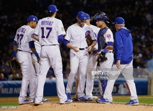 in Game Four of the 2016 World Series at Wrigley Field on October 29, 2016 in Chicago, Illinois.
