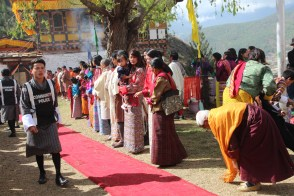 Waiting for the king to pass, Bhutan