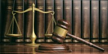 Justice scale, gavel and law books. 3d illustration