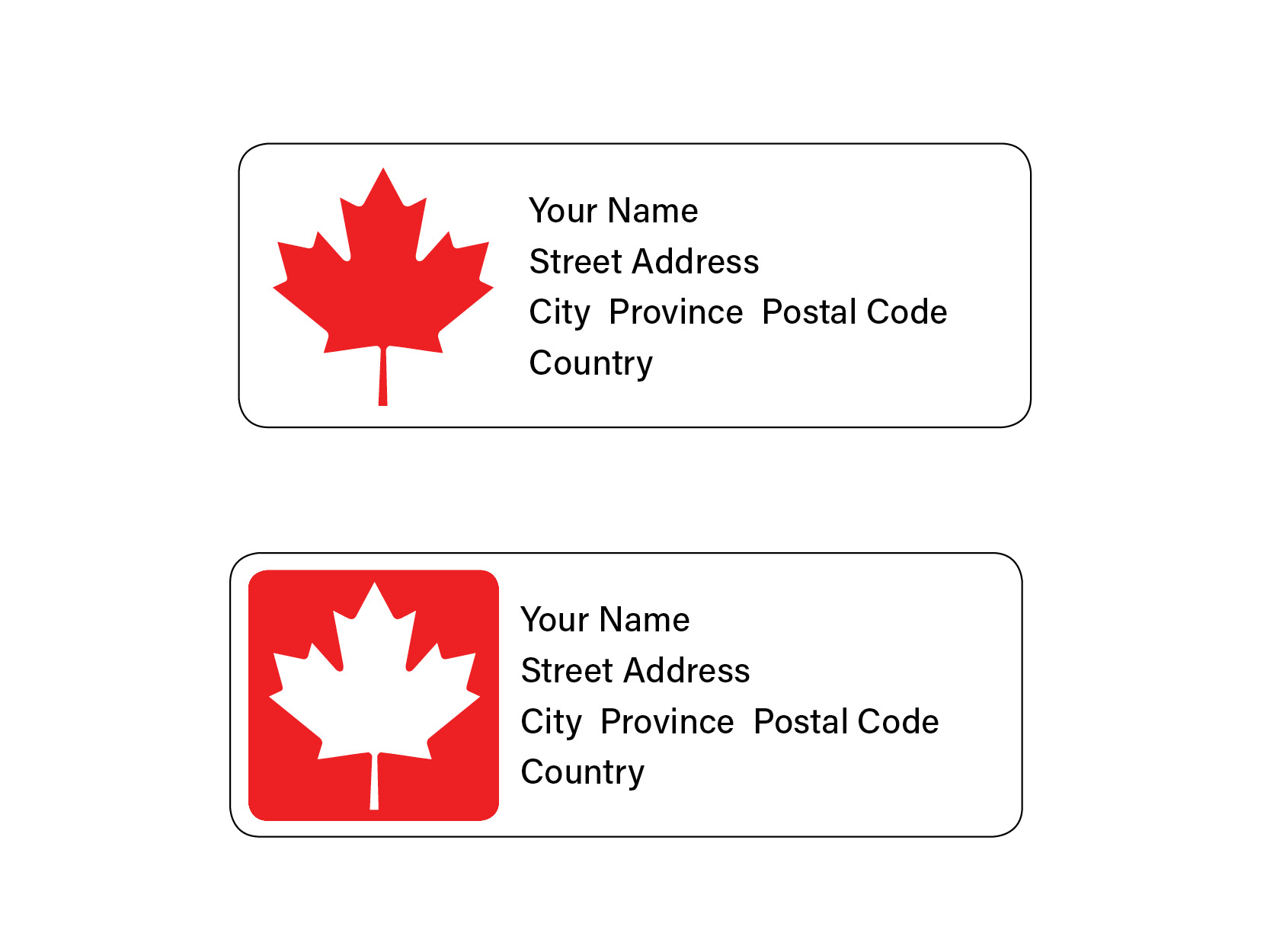 Official Canadian Maple Leaf Mailing Labels