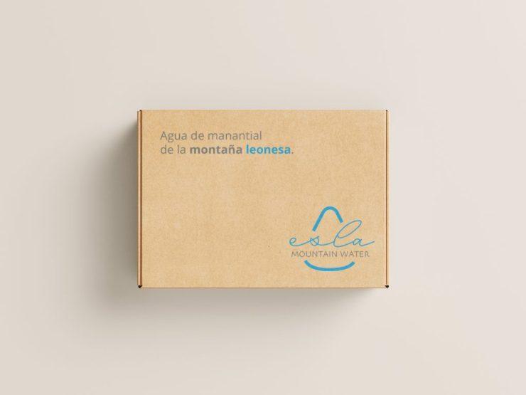 Caja de cartón agua de la montaña leonesa