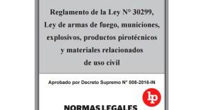 Se aprueba reglamento de la Ley de uso de armas de fuego