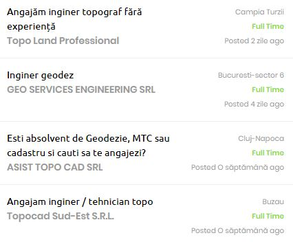 joburi inginer geodez