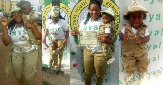 PHOTOS: Lady and her son rock matching NYSC outfit during her POP